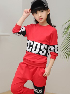 Ericdress Letter Color Block Sports 2-Pcs Girls Outfit