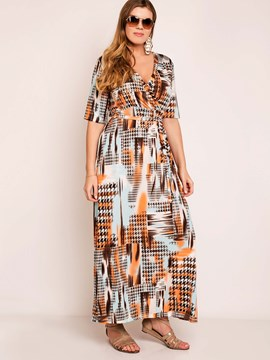 Ericdress Casual Print Lace-Up Half Sleeve Plus Size Maxi Dress