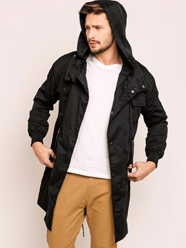 Single-Breasted Hooded Men's Down Jacket