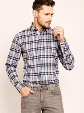 Ericdress Long Sleeve Color Block Plaid Casual Men's Shirt