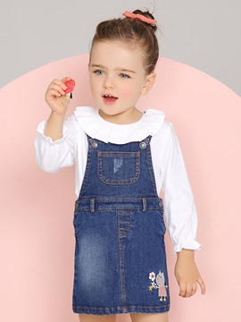 Ericdress Embroidery Suspenders Denim Bay Girls Dress