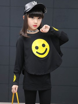 Ericdress Smiling Face Printing Casual T-Shirt & Pants Girls Suit