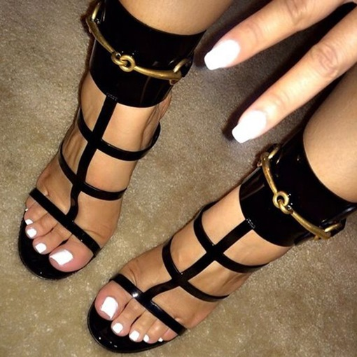Ericdress Trendy Black Open Toe Stiletto Sandals
