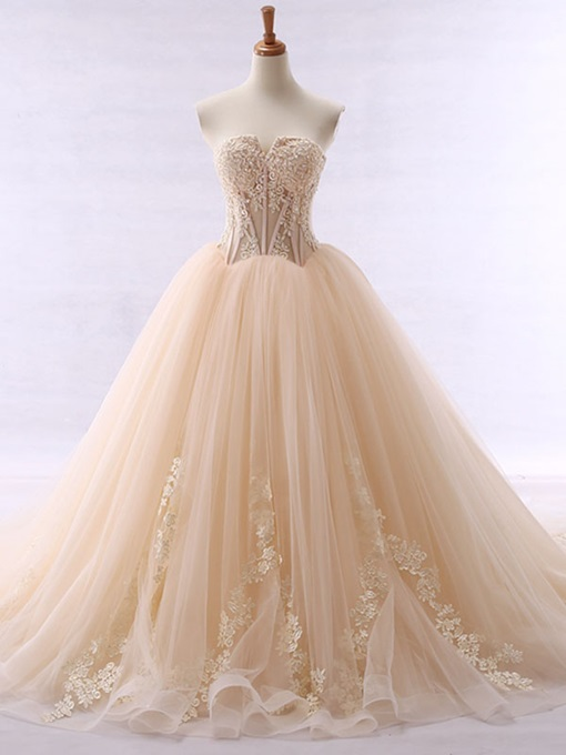 Ericdress Sweetheart Appliques Beading Ball Gown Wedding Dress