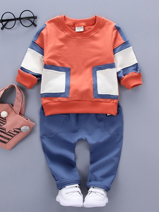 Ericdress Color Block T-Shirt Pants 2-Pcs Casual Boys Outfit