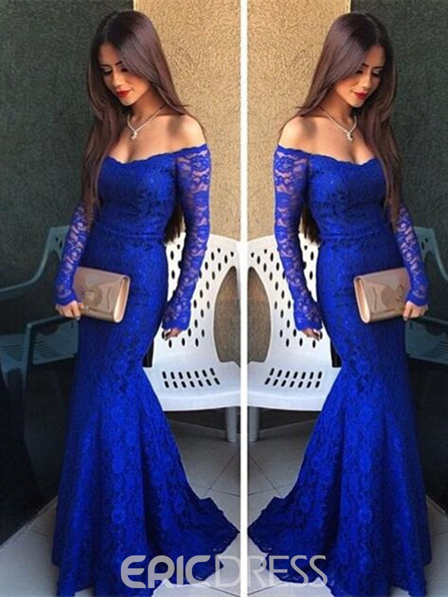 08388be1947f Ericdress Sexy Off The Shoulder Long Sleeve Lace Mermaid Evening Dress