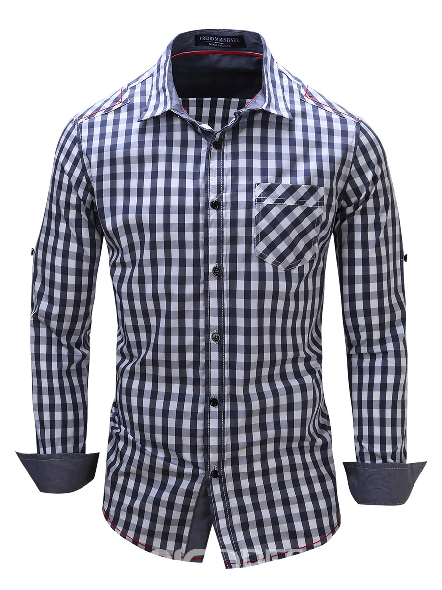 Ericdress Plaid Single-Breasted Casual Long Sleeve Men's Shirt