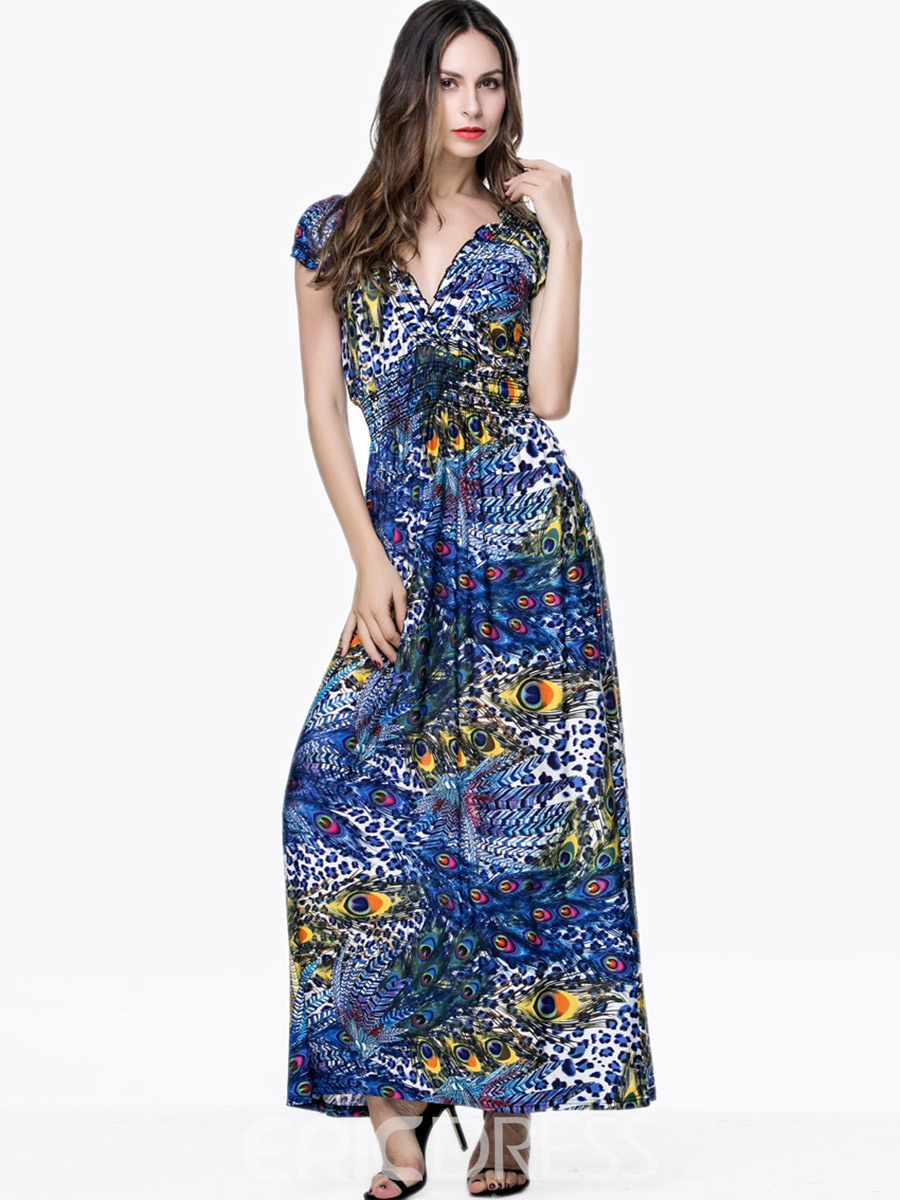 Ericdress Leopard V-Neck Short Sleeve Maxi Dress