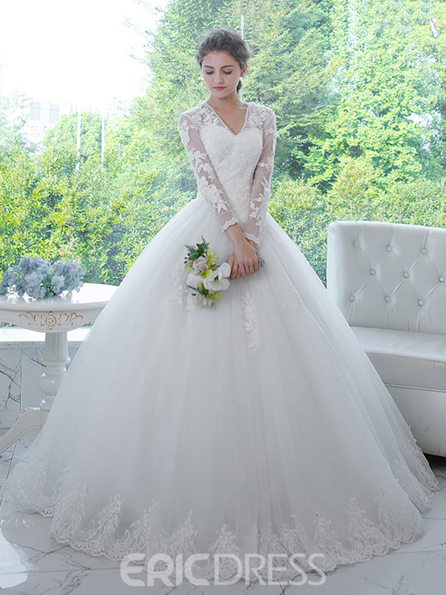 Ericdress Clic V Neck Liques Long Sleeves Ball Gown Wedding Dress