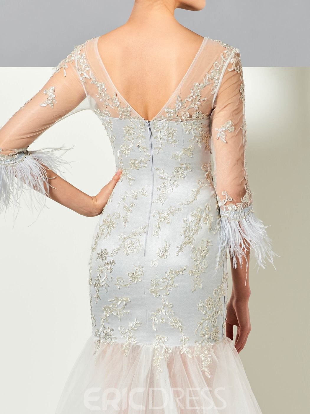 Ericdress Glamorous 3/4 Sleeve Lace Applique Mermaid Evening Dress With Sweep Train