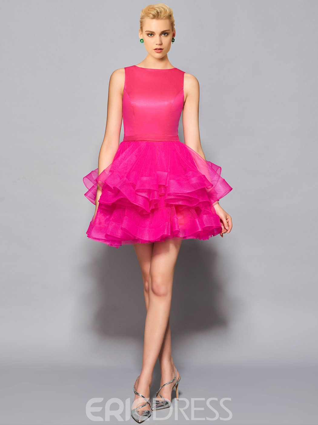 Ericdress Short/Mini Scoop Neck Pufffles Ball Cocktail Dress