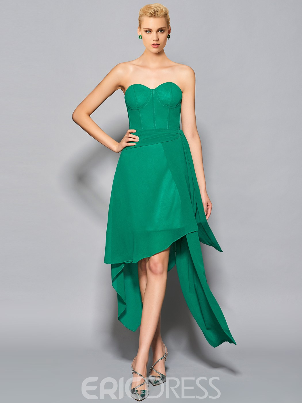 Ericdress Chic A Line Sweetheart Chiffon Asymmetry Cocktail Dress