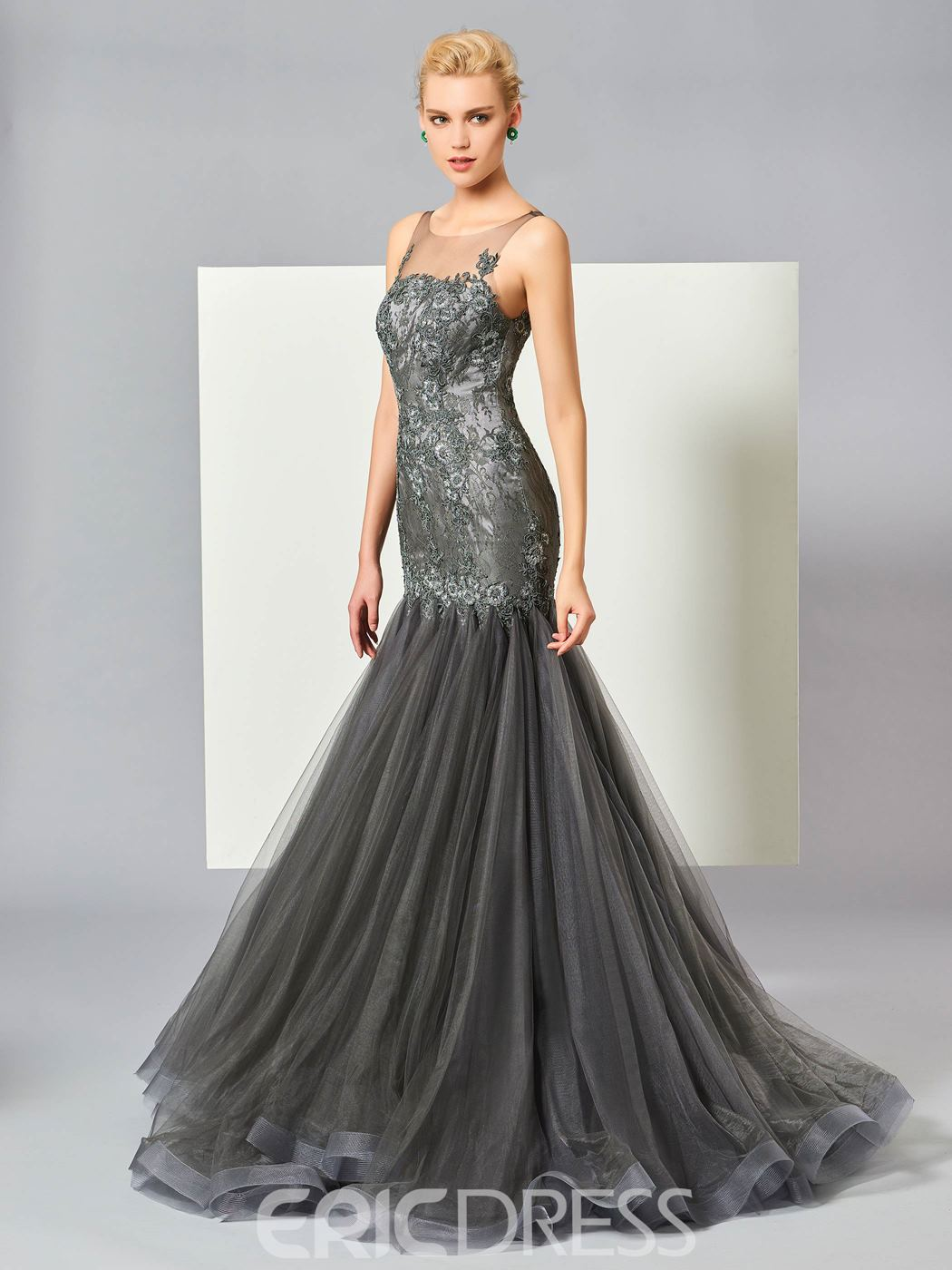 Ericdress Mermaid Bateau Neck Lace Applique Evening Dress With Sweep Train
