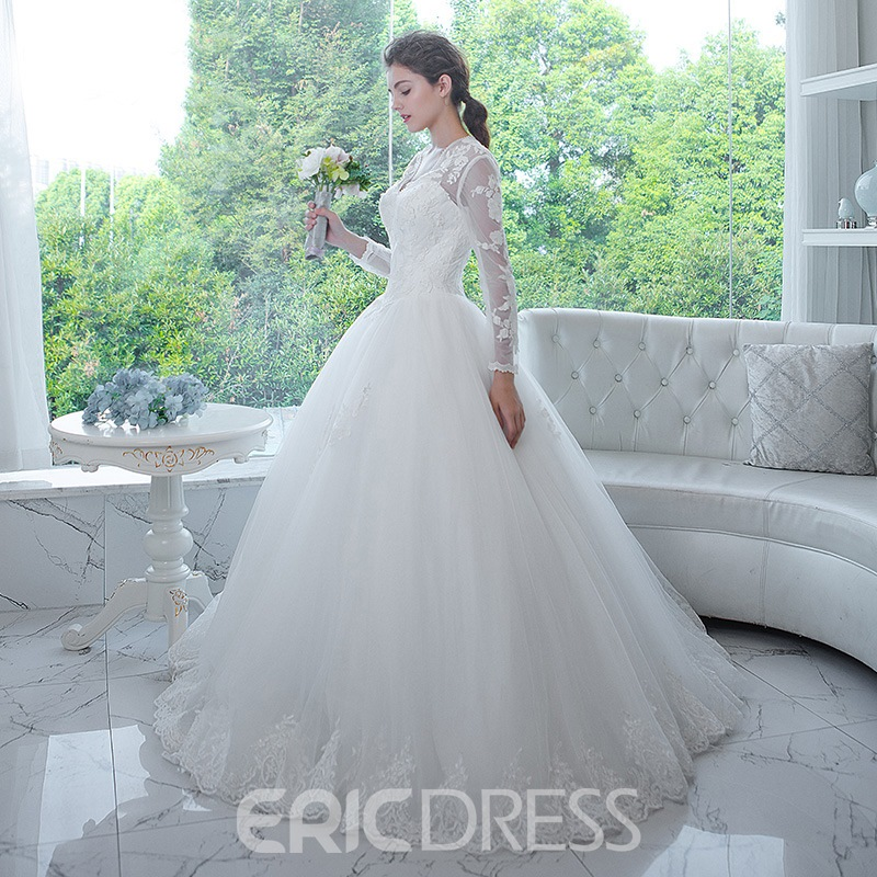 Ericdress Classic V Neck Appliques Long Sleeves Ball Gown Wedding ...