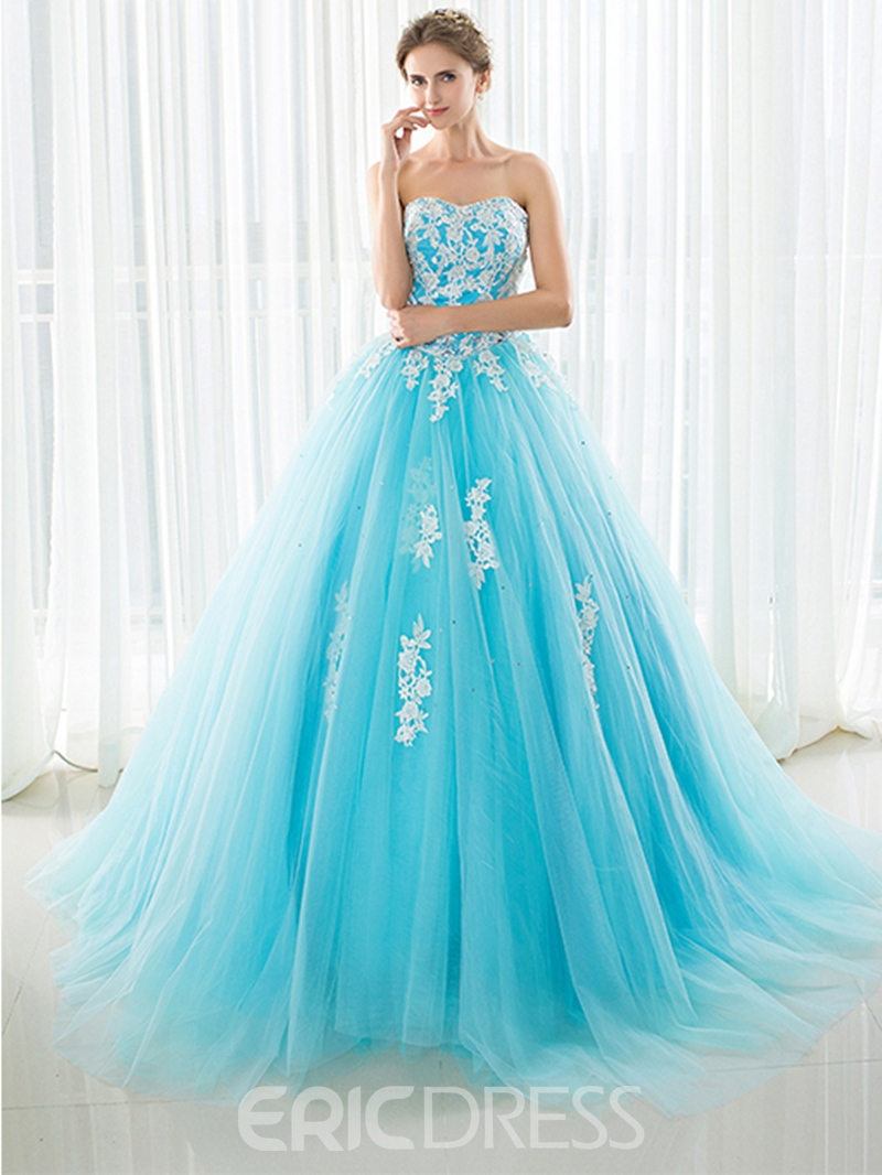 Ericdress Elegant Sweetheart Appliques Beading Court Train Evening Dress