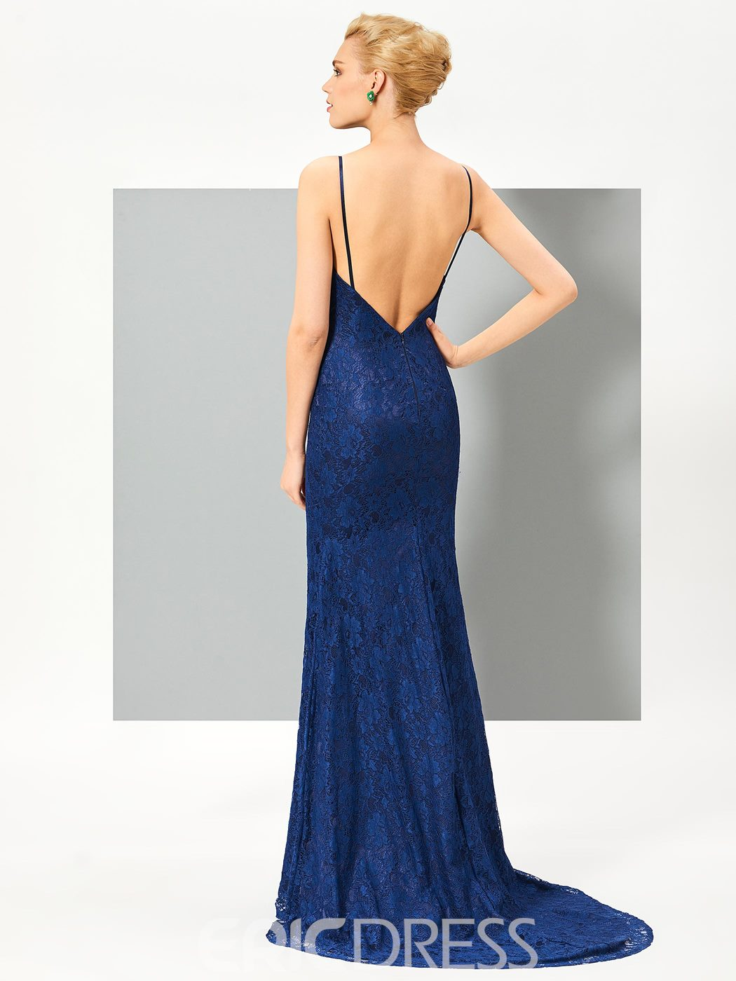 Ericdress Spaghetti Straps Backless Lace Mermaid Evening Dress With Beaded Cape