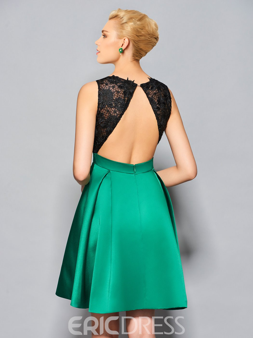 Ericdress Short A Line Lace Satin Half Open Back Cocktail Dress