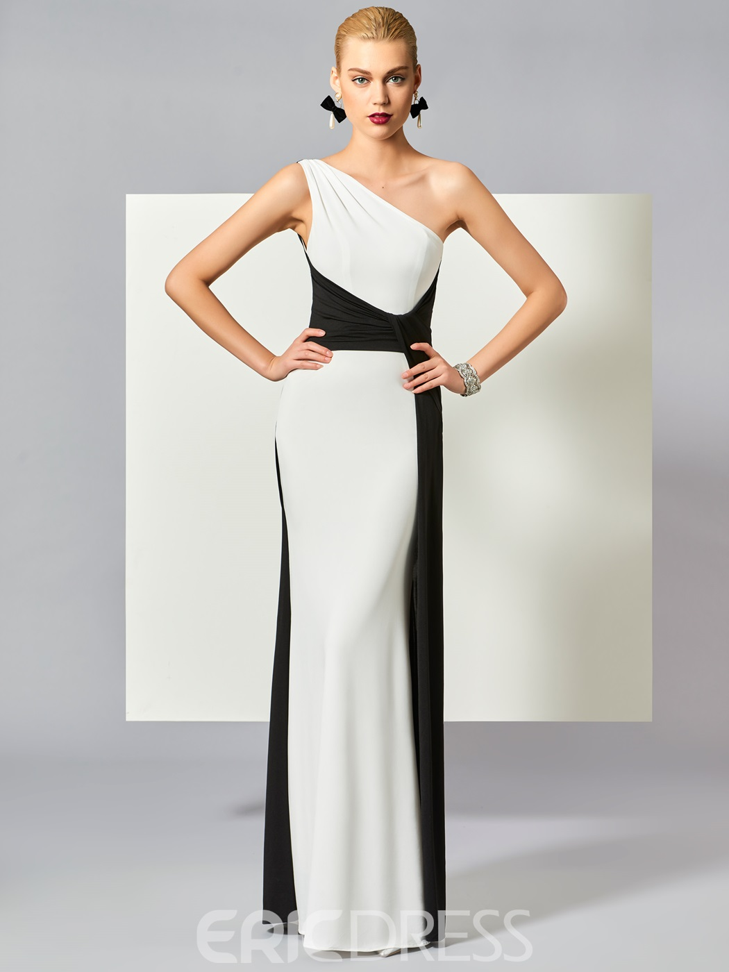 Ericdress Chic Contrast Color One Shoulder Sheath Floor Length Evening Dress