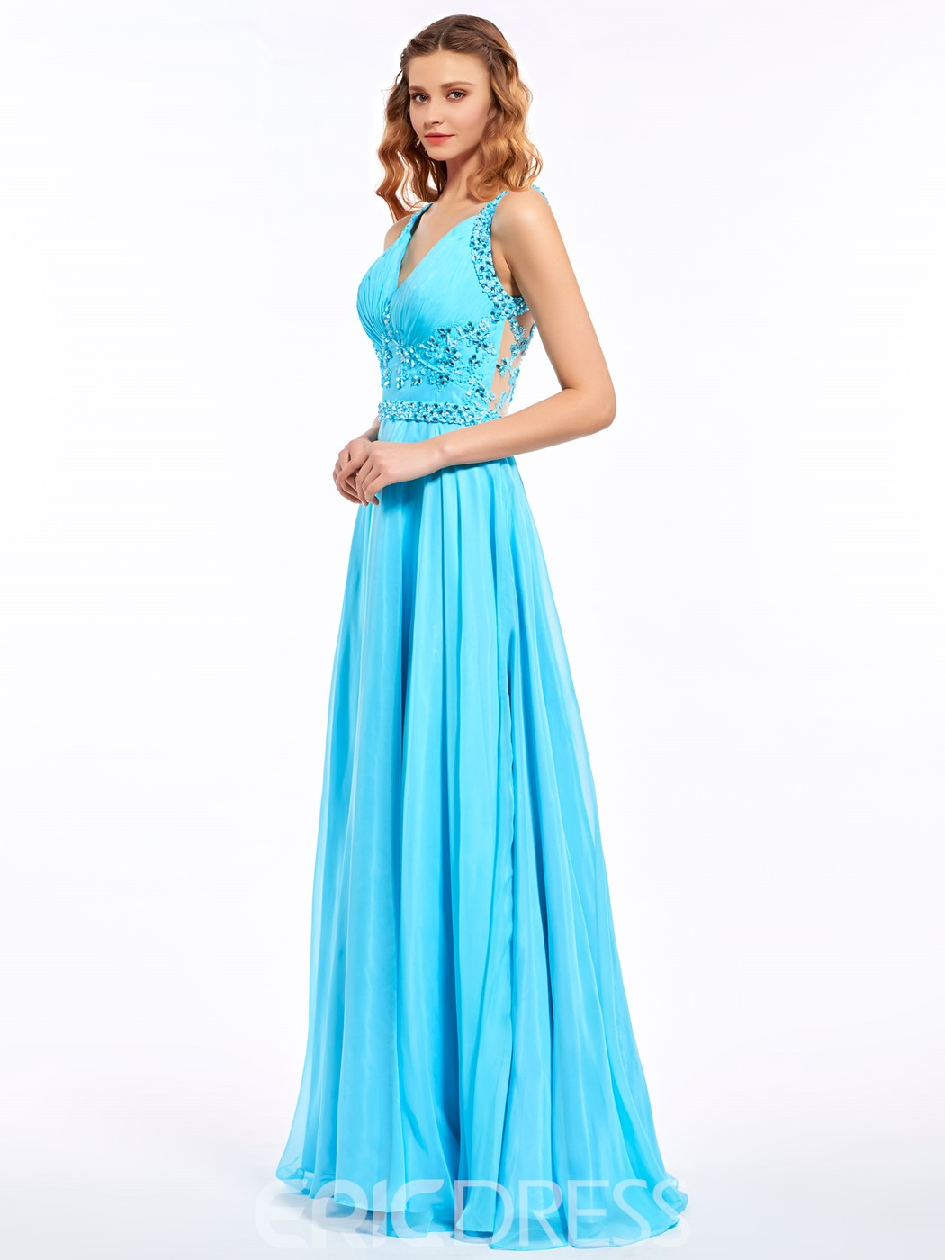 Ericdress Straps A-Line Appliques Beading Button Flowers Floor-Length Prom Dress
