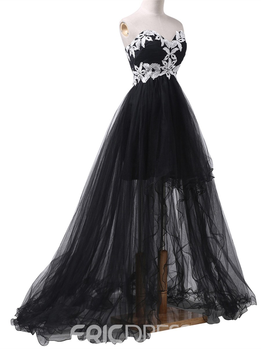 Ericdress Fancy High Low Sweetheart Applique Lace-Up Prom Dress