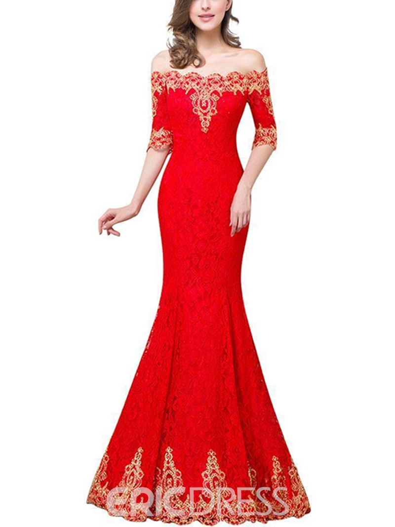 Ericdress Mermaid Off-The-Shoulder Lace Evening Dress 2019