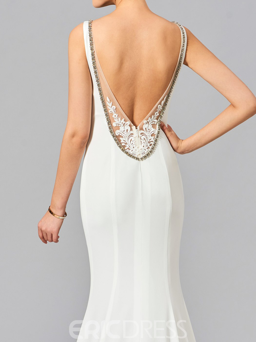 Ericdress Sexy V Neck Beaded Deep Back Mermaid Evening Dress With Court Train