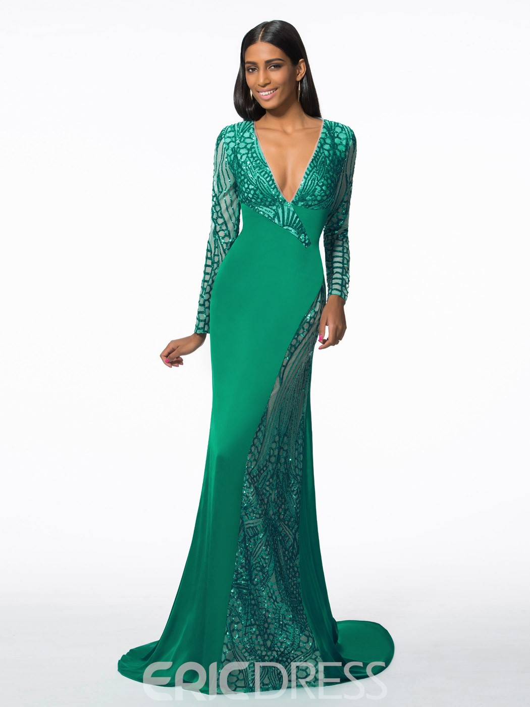 Ericdress V-Neck Long Sleeves Sequins Mermaid Evening Dress With Court Train