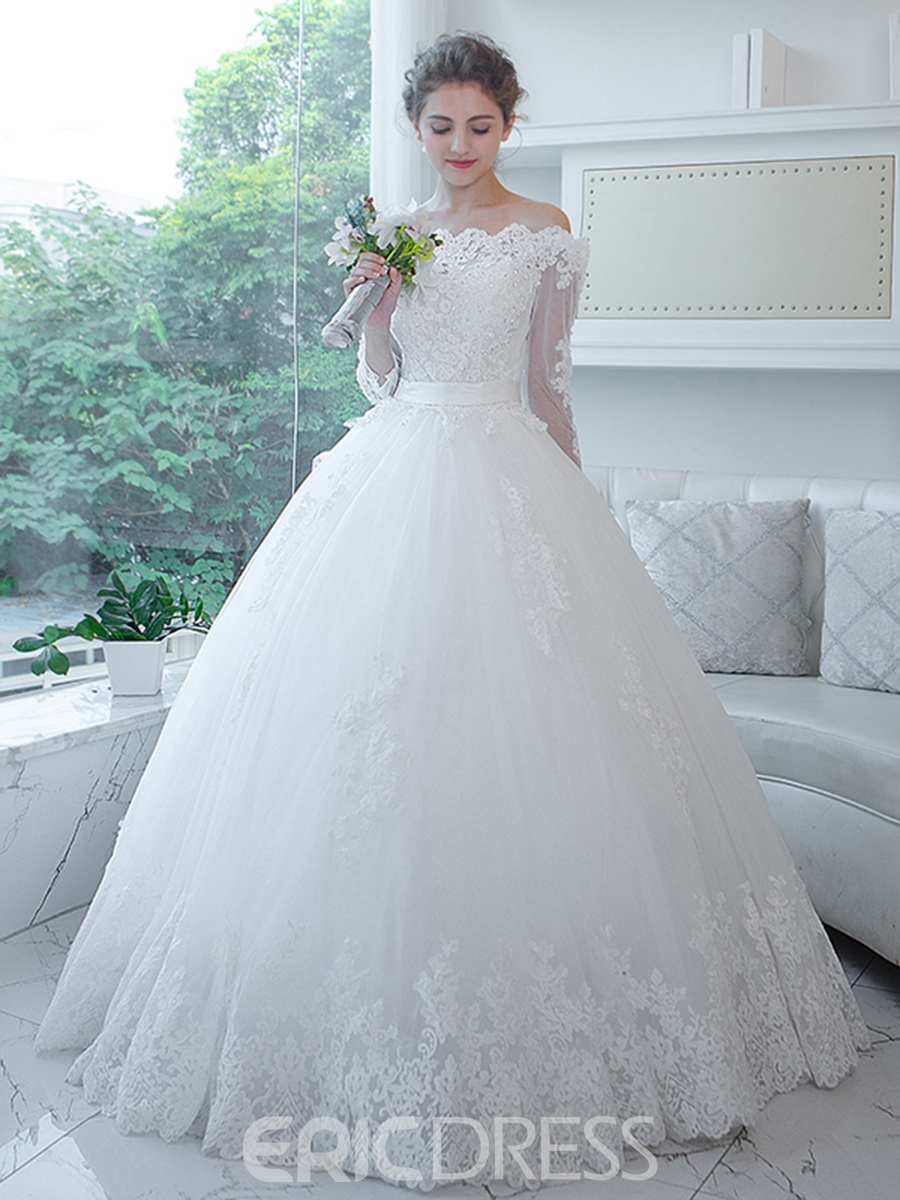 Ericdress Elegant Appliques Beaded Off The Shoulder Ball Gown Wedding Dress With Sleeves