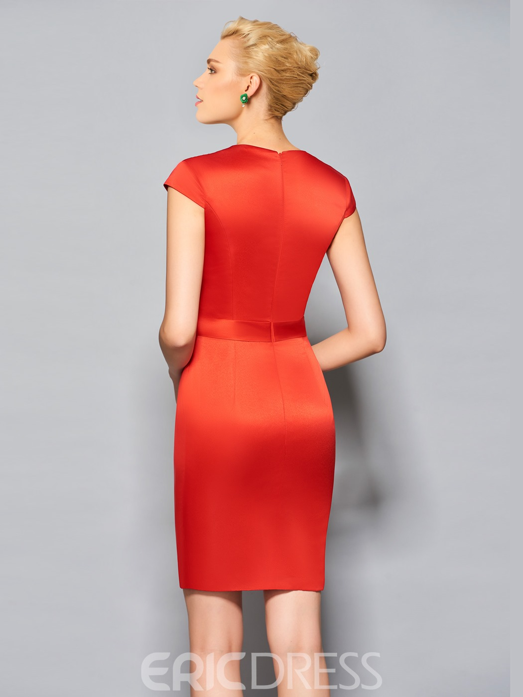 Ericdress Sheath Cap Sleeve Bowknot Front Short Cocktail Dress