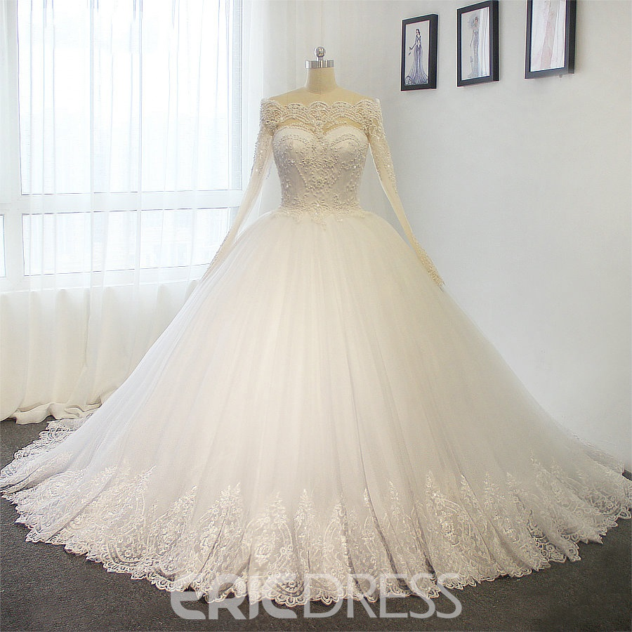 Ericdress Off The Shoulder Ball Gown Long Sleeves Appliques Beaded Wedding Dress