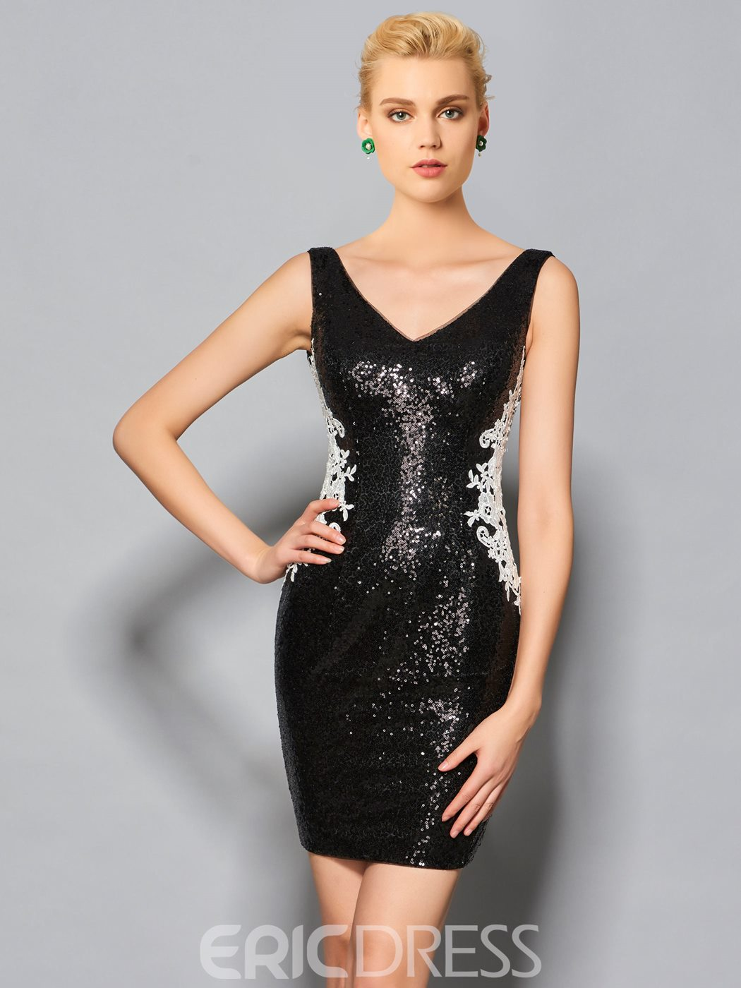 Ericdress Sheath V Neck Sequin Zipper-Up Knee Length Cocktail Dress