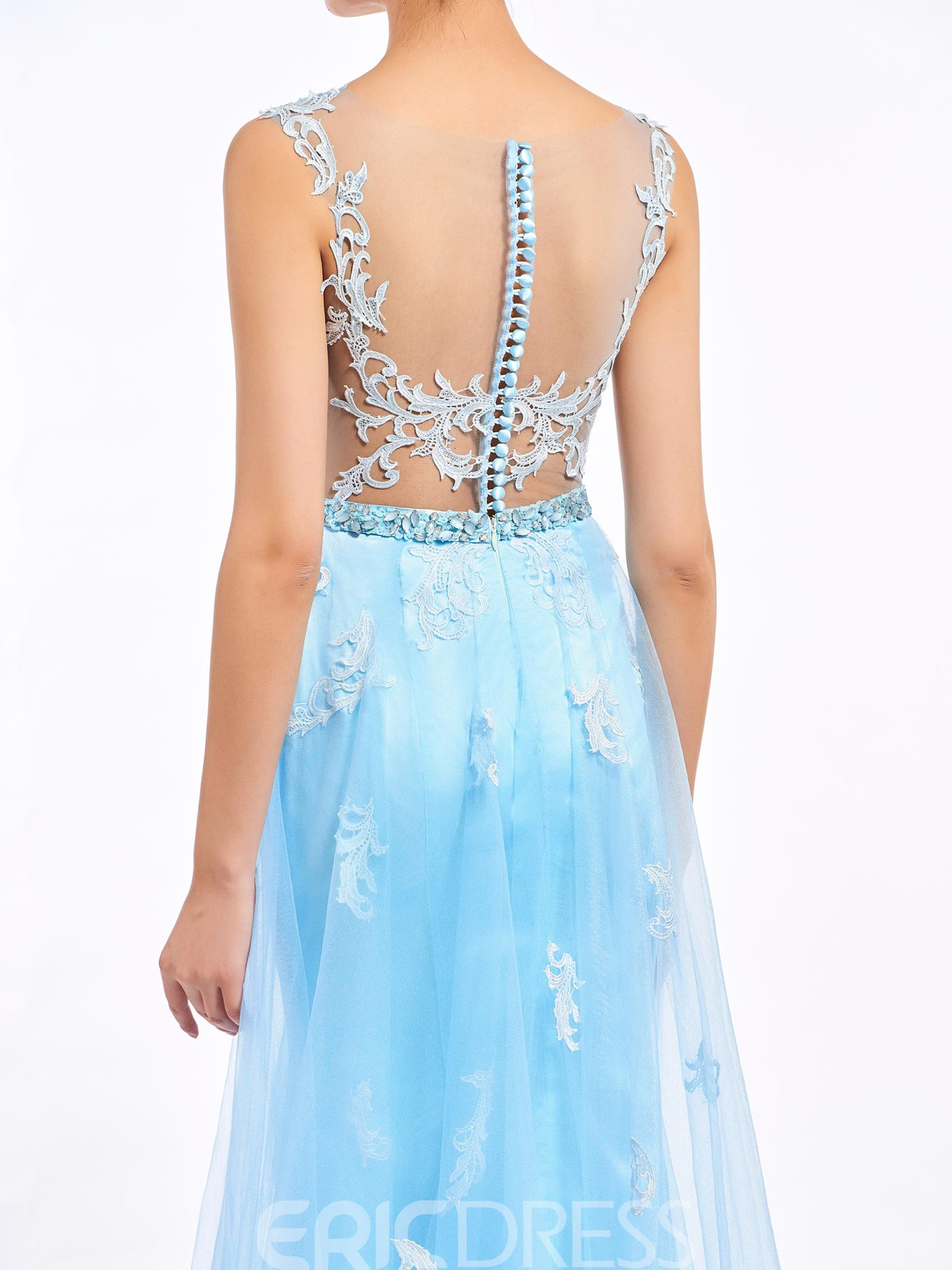Ericdress A-Line Bateau Appliques Button Lace Sashes Prom Dress