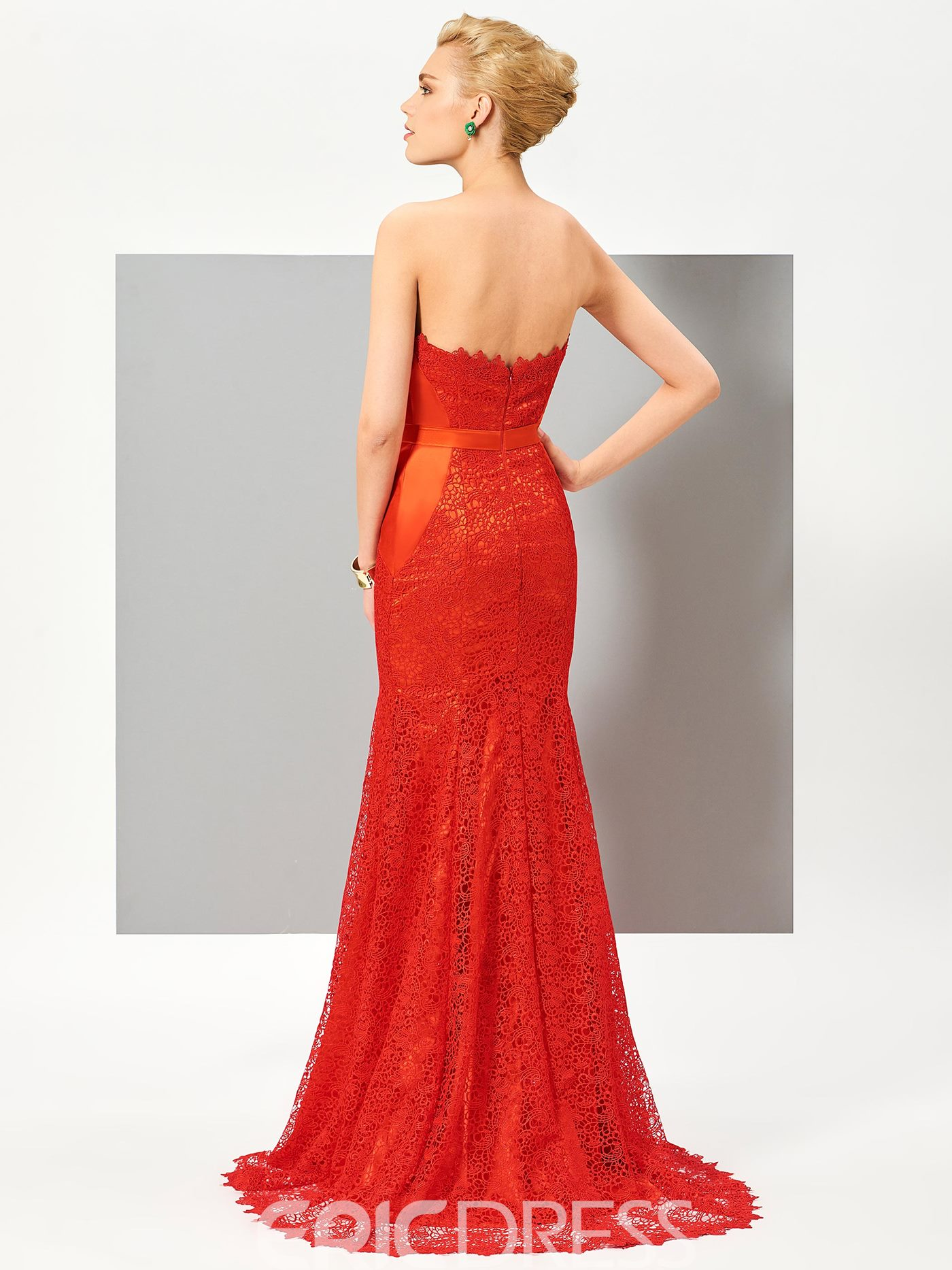 Ericdress Strapless Mermaid Lace Sashes Split-Front Sweep Train Evening Dress