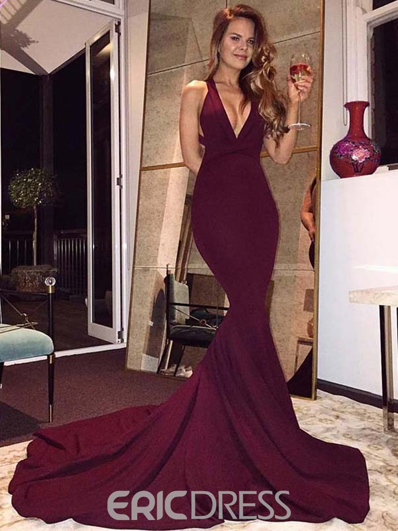 Ericdress Deep V Neck Backless Mermaid Evening Dress With Chapel Train