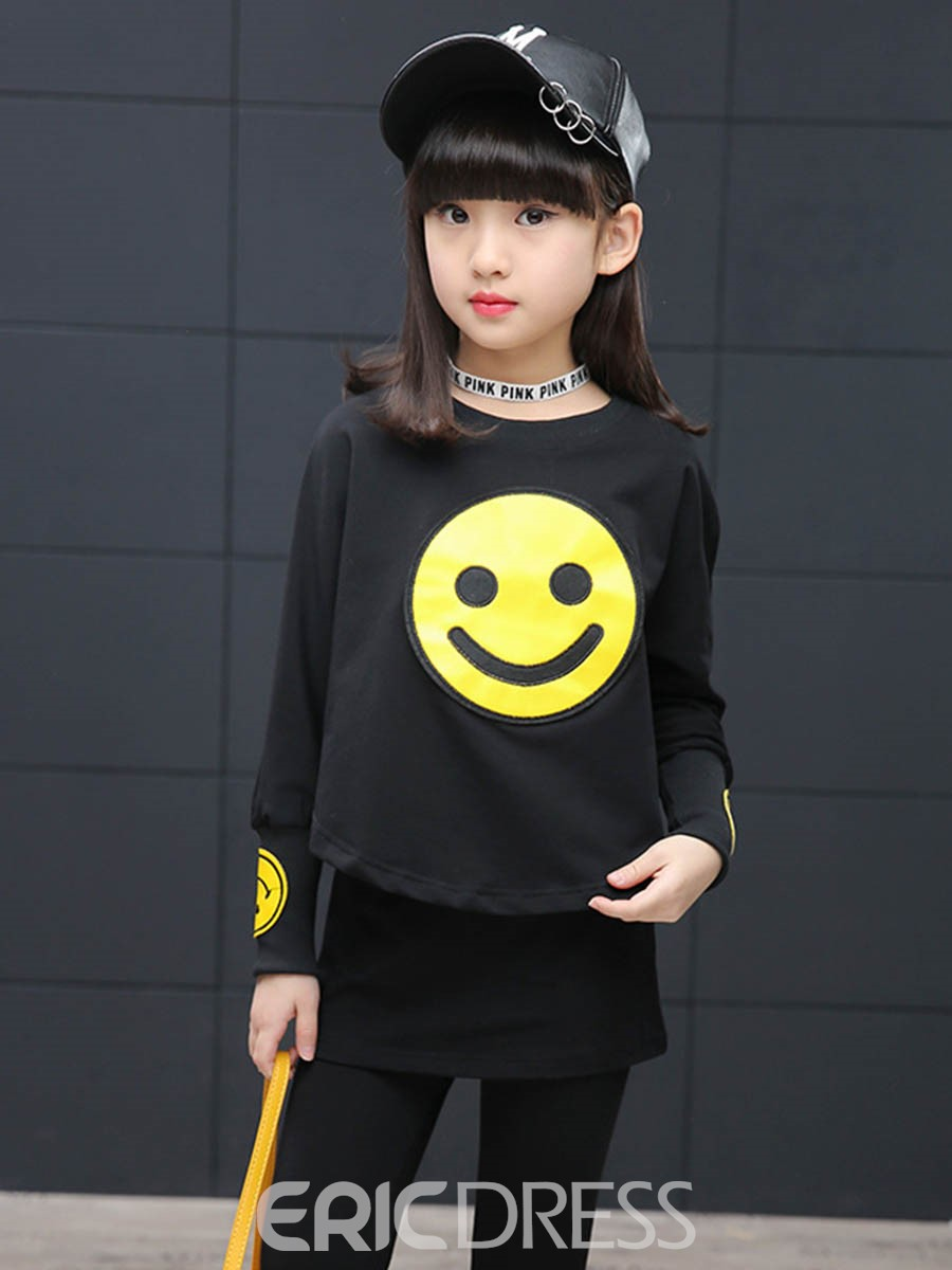 Ericdress Smiling Face Print Casual T-Shirt & Pants 2-Pcs Girls Suit