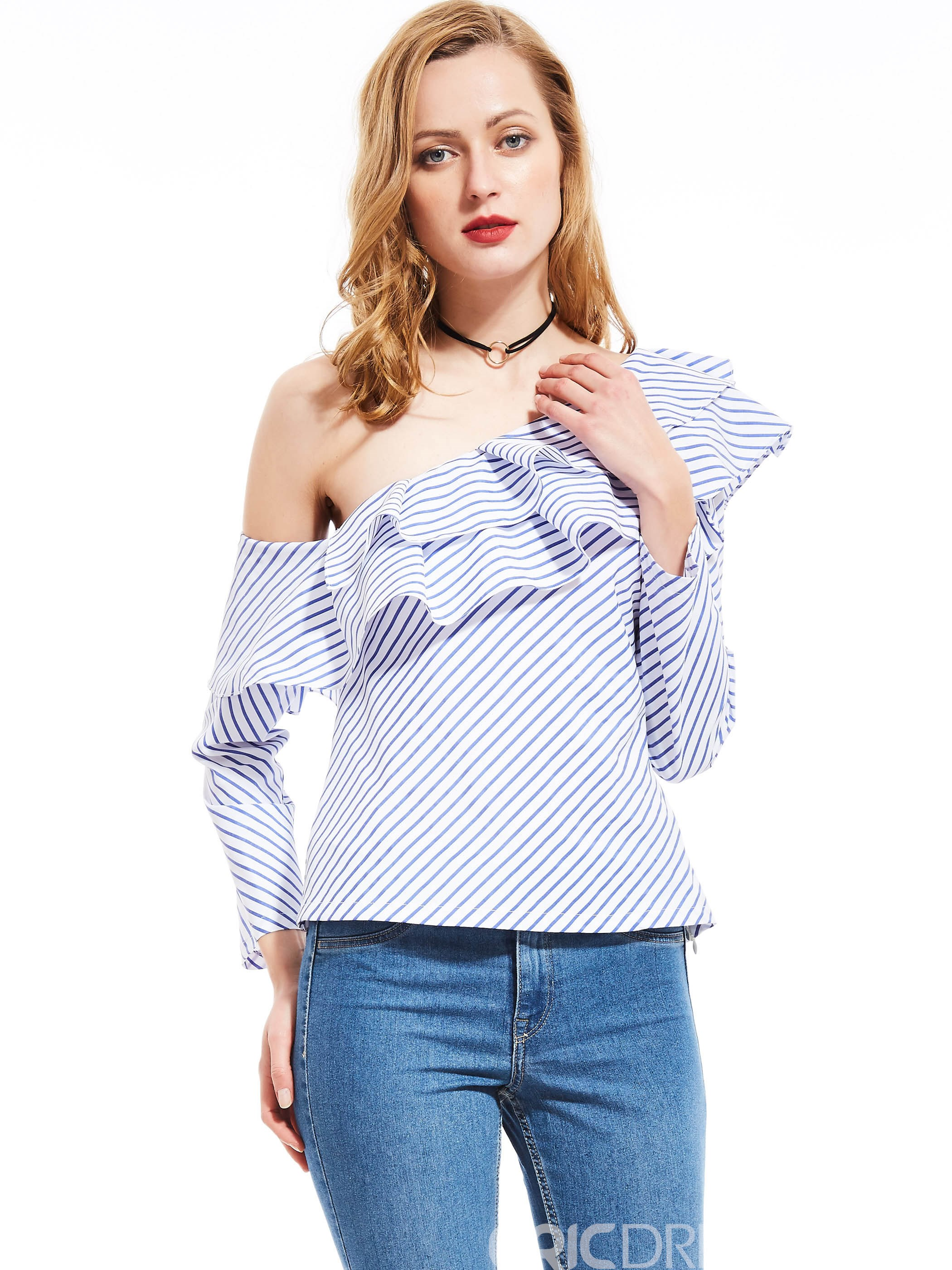 Ericdress Oblique Collar Ruffle Blue Stripe Blouse