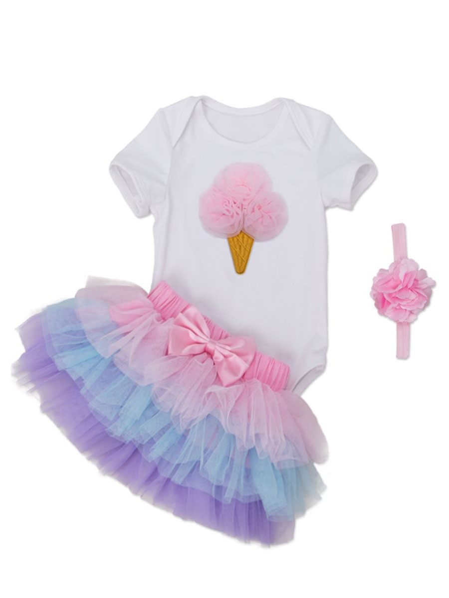 Ericdress Love T-Shirt Layered Skirt with headband 3-Pcs Girls Outfit