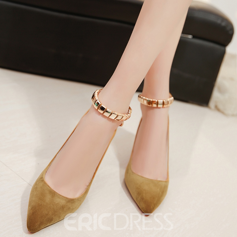 Ericdress Suede Ankle Strap Point Toe Prom Shoes