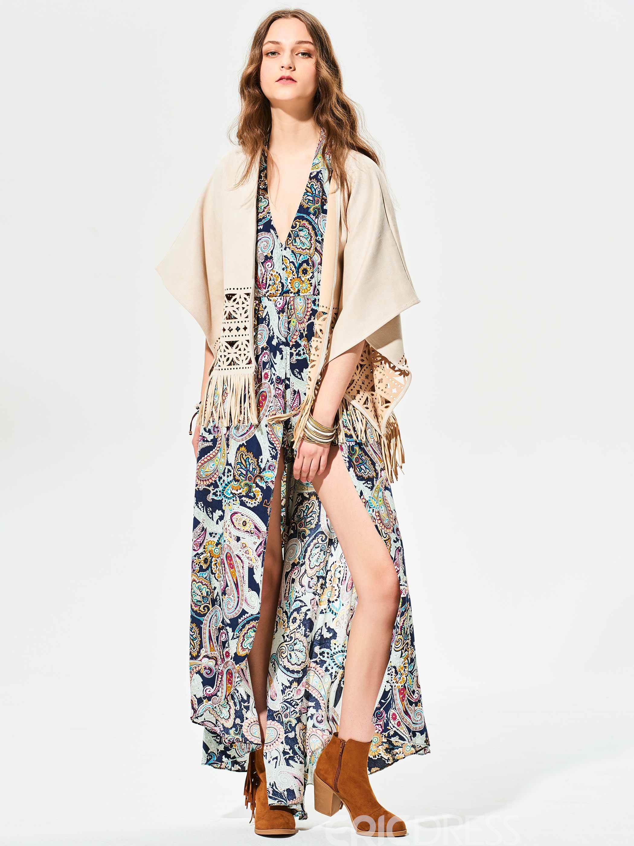 Ericdress Plain Hollow Tassel Wrapped Cape