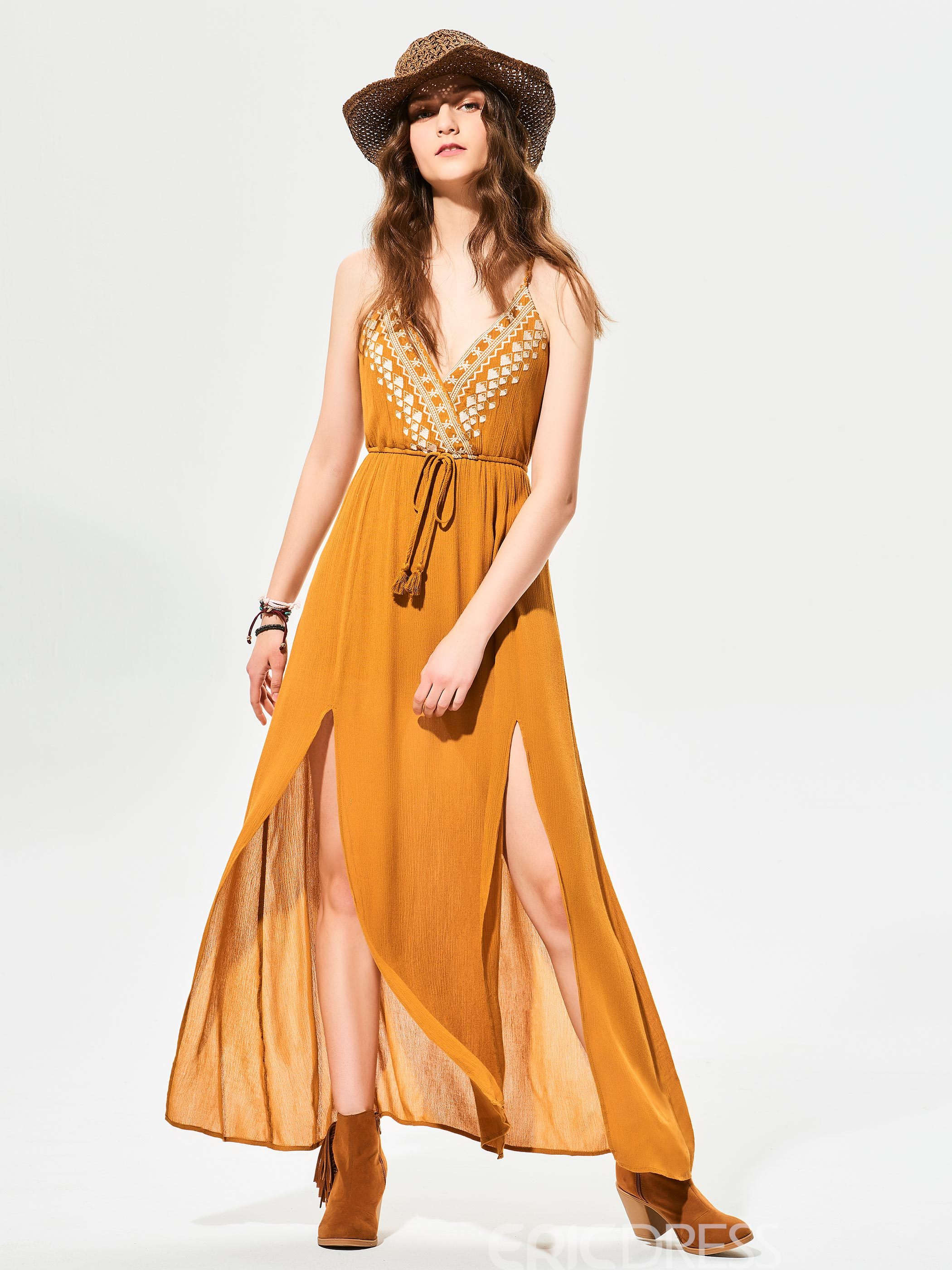 Ericdress Lace-Up Geometric Pattern Embroidery Maxi Dress