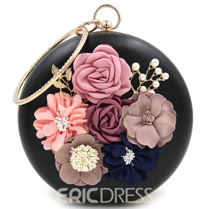 Ericdress Round Flower Pearl Decorated Evening Clutch