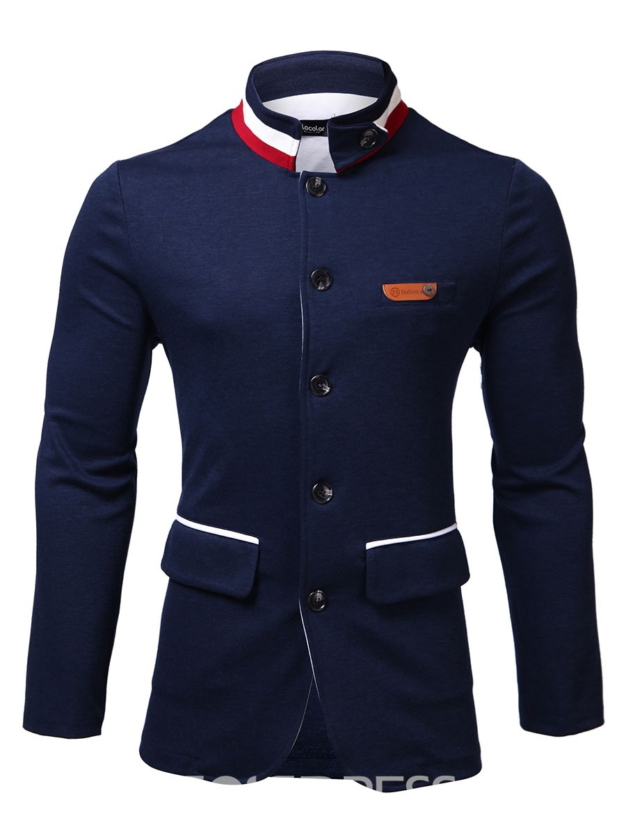 Ericdress Stripe Stand Collar Thin Men's Casual Blazer