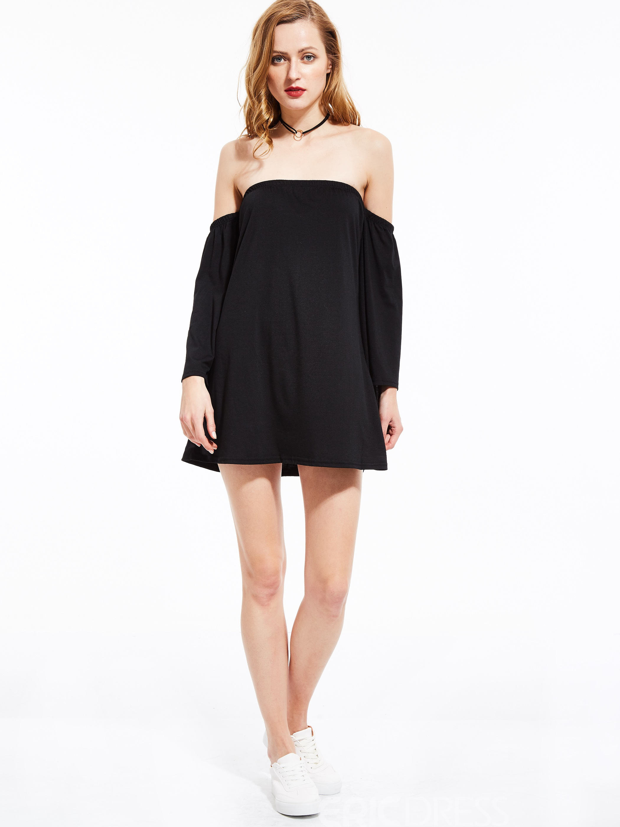 Slash Neck Plain Day Dress