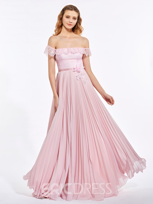 Ericdress A Line Off The Shoulder Lace Pleats Chiffon Prom Dress