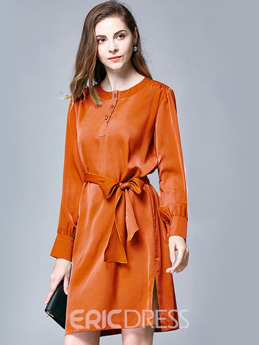 Ericdress Back Pleated Patchwork Button Lace-Up Casual Dress