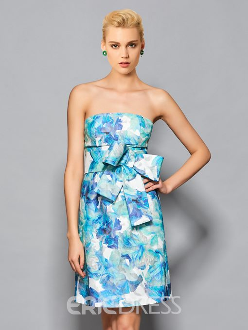 Ericdress Sheath Strapless Floral Print Bowknot Short/Mini Cockail Dress