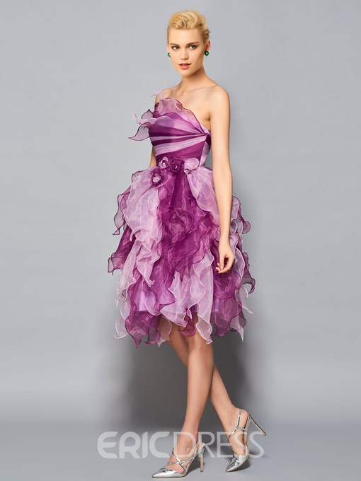 Ericdress Ball Strapless Organza Tiered Knee Length Cocktail Dress