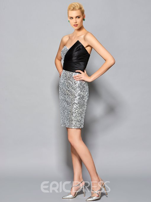 Ericdress Sheath Sweetheart Pick-Ups Sequins Short Cocktail Dress