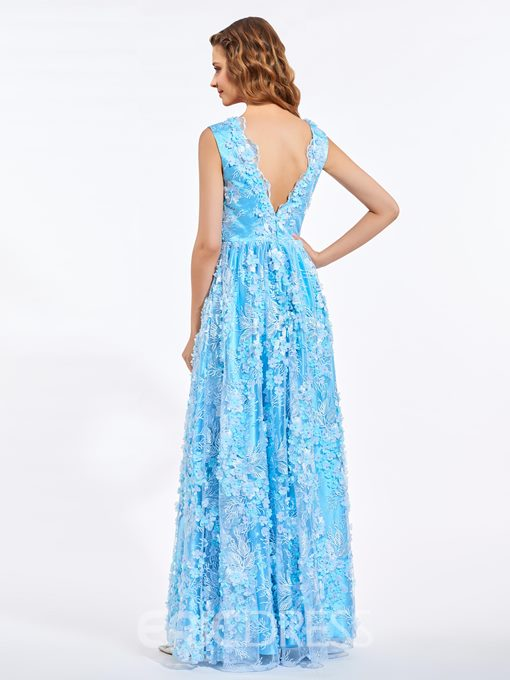 Ericdress A-Line V-Neck Lace Flowers Pearls Floor-Length Prom Dress
