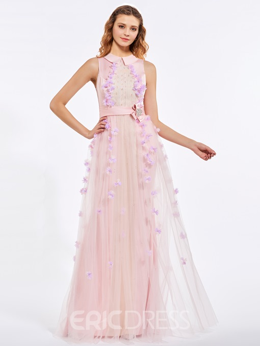 Ericdress A-Line Jewel Neck Beading Sashes Flowers Floor-Length Prom Dress